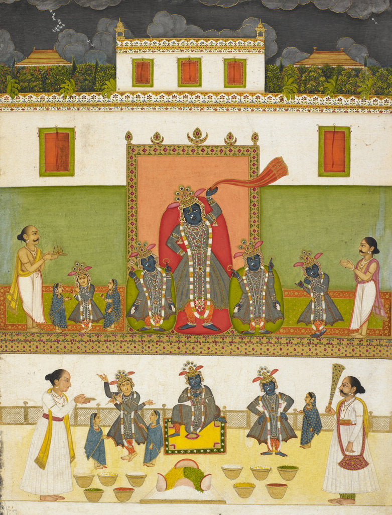Detail of Krishna worshipped under the form of Srinathji  by Anonymous