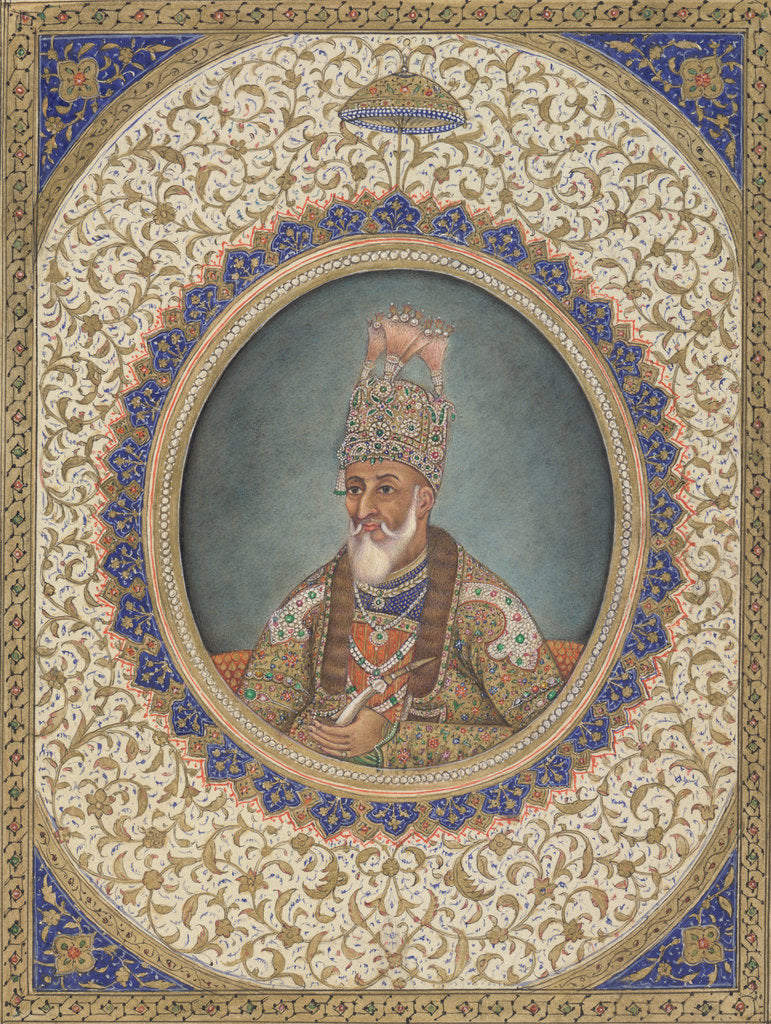 Detail of Portrait of Bahadur Shah II, the last Mughal Emperor by Circle of Ghulam 'Ali Khan
