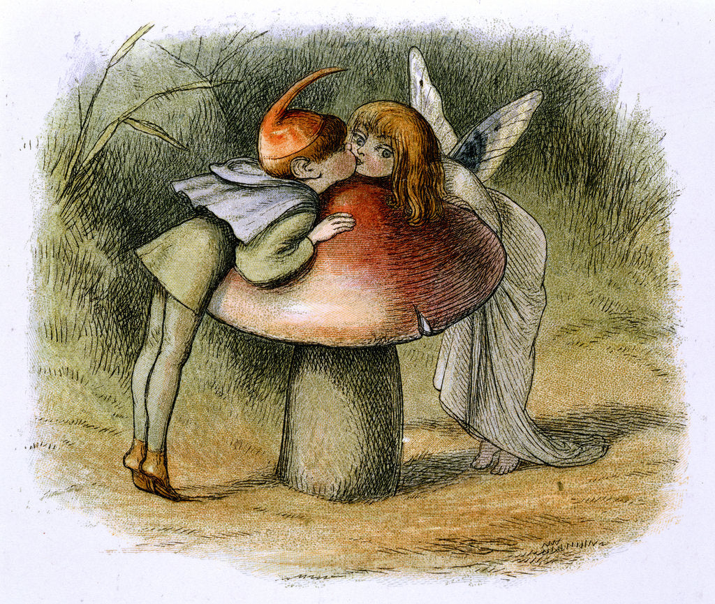 Detail of A fairy and an elf kissing by Richard Doyle
