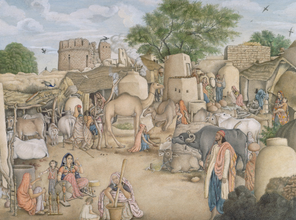 Detail of The village of Raniya in Haryana Delhi, 1815-19 by Anonymous