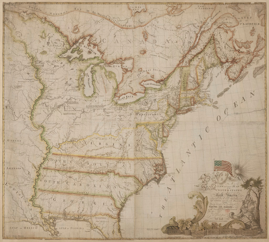 A historic map of America