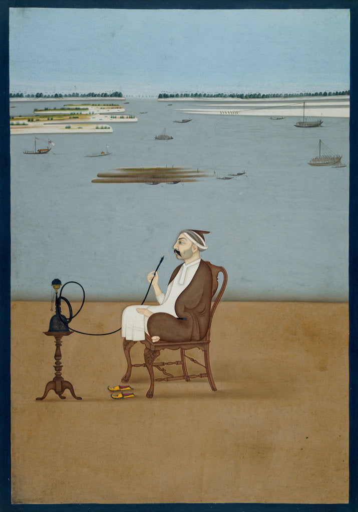 Detail of Ashraf 'Ali Khan smoking a hookah by Dip Chand