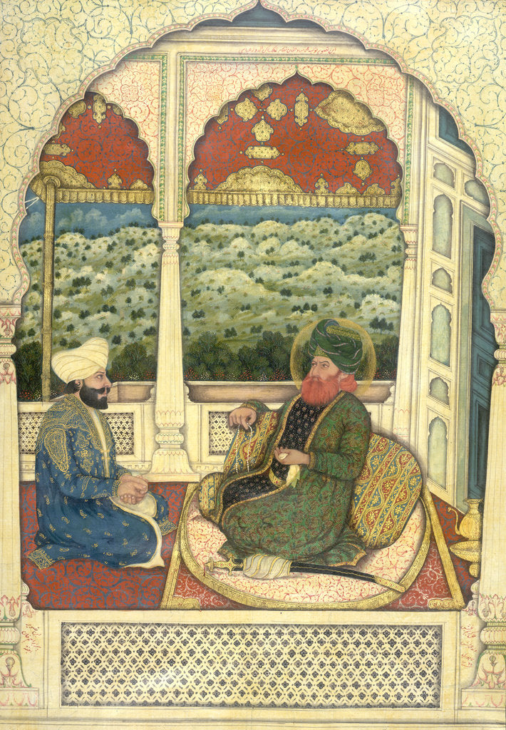 Detail of A portrait of Navab Muhammad Bahawal Khan by Karim Bakhsh