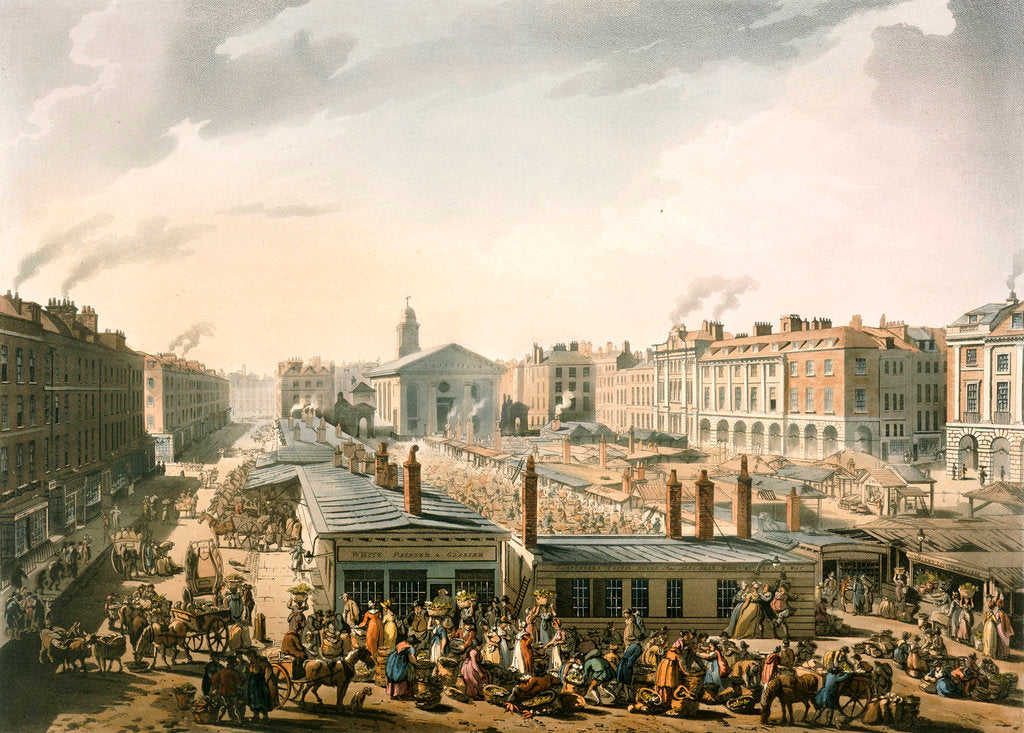 Detail of Covent Garden market by Pugin Rowlandson