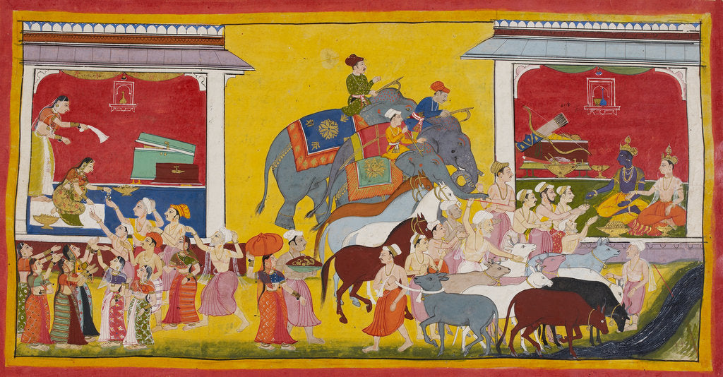 Rama, Sita and Laksmana give away their possessions by Anonymous