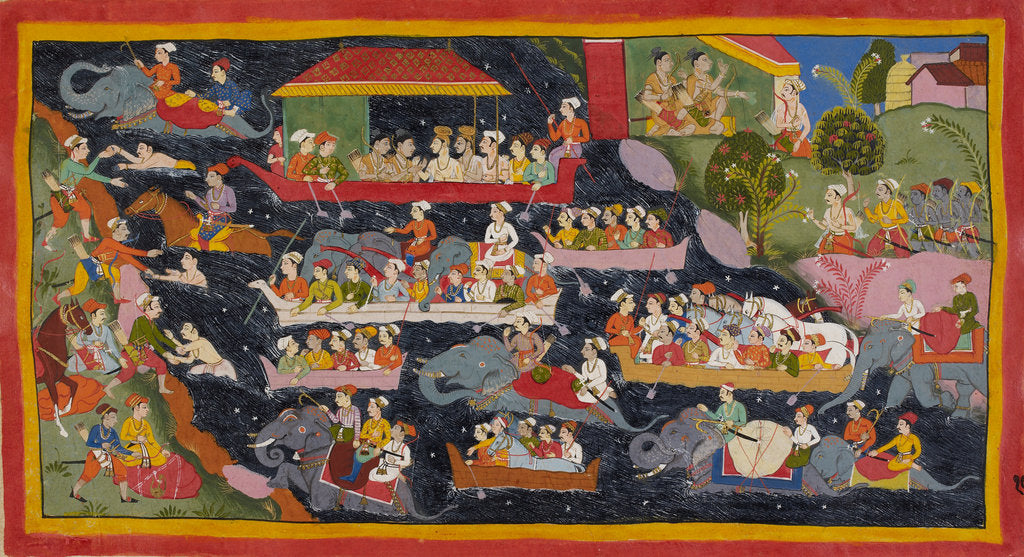 Detail of Bharata crosses the Ganges in search of Rama by Anonymous