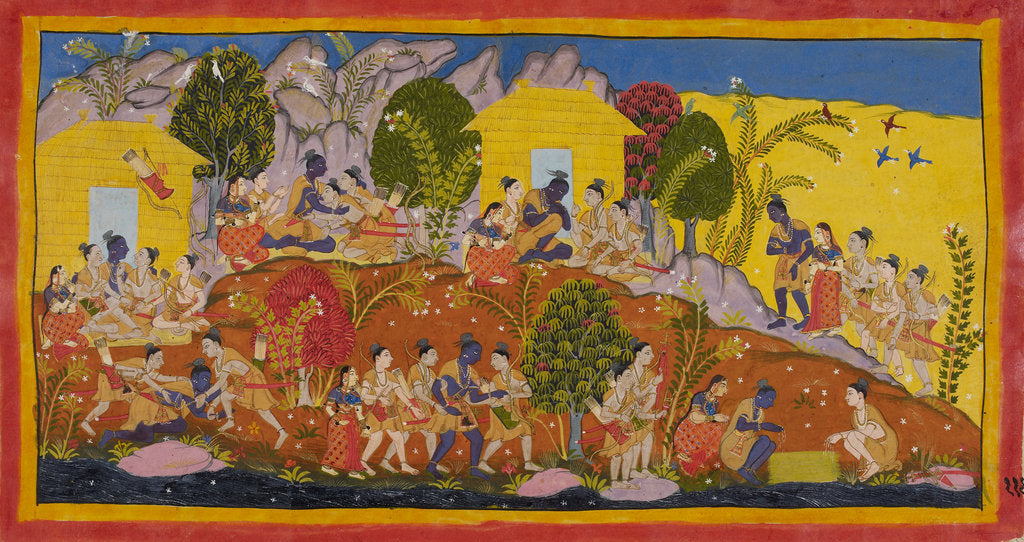 Detail of Rama and his brothers reunited by Anonymous