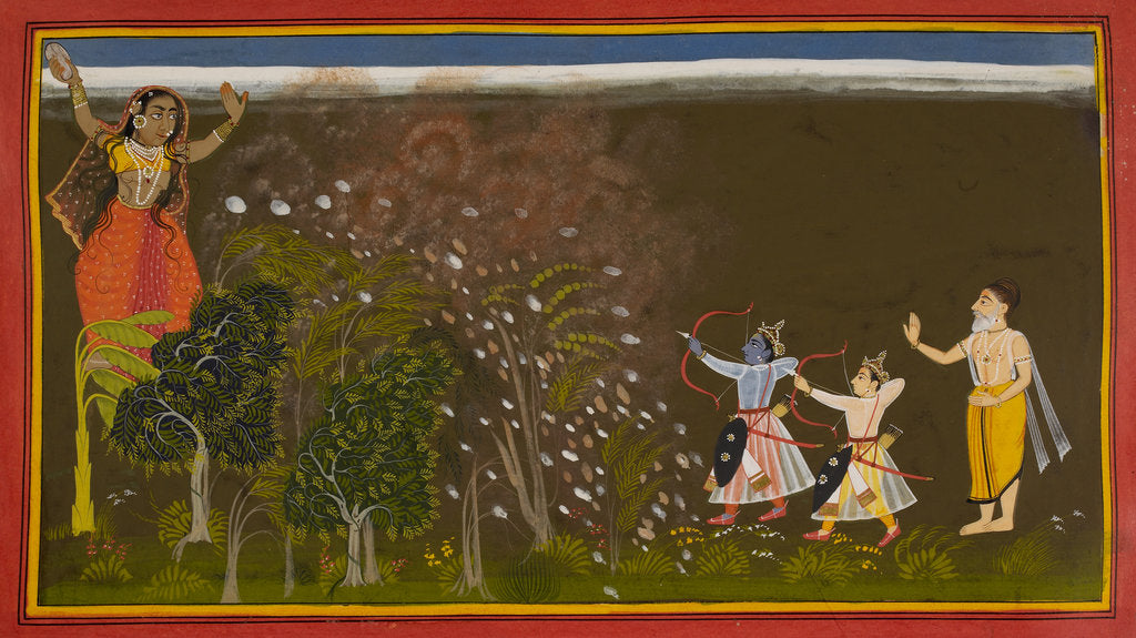 Detail of Rama kills the demoness Tadaka by Manohar