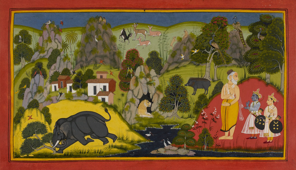 Detail of Rama is given divine weapons by Manohar
