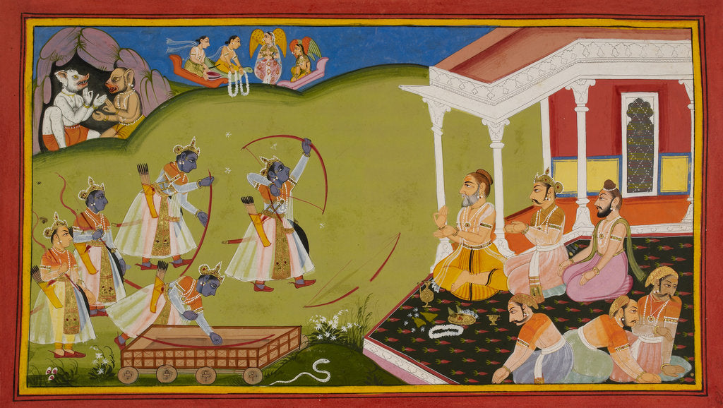 Rama breaks Siva's bow by Manohar