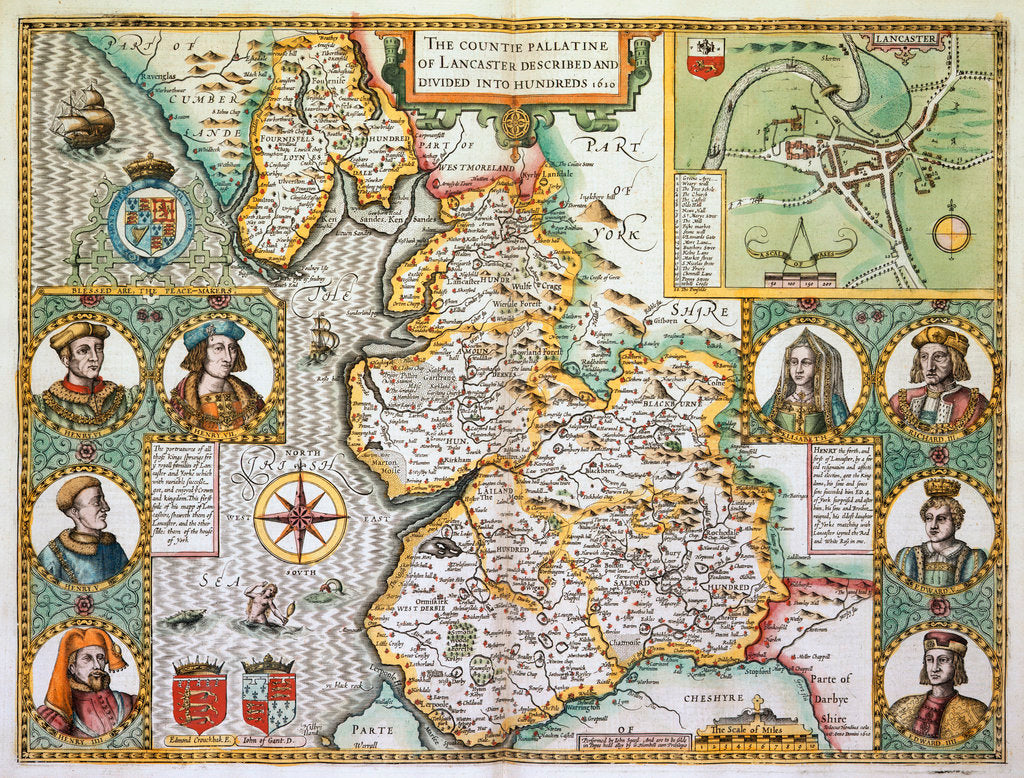 Detail of Map of Lancashire by John Speed