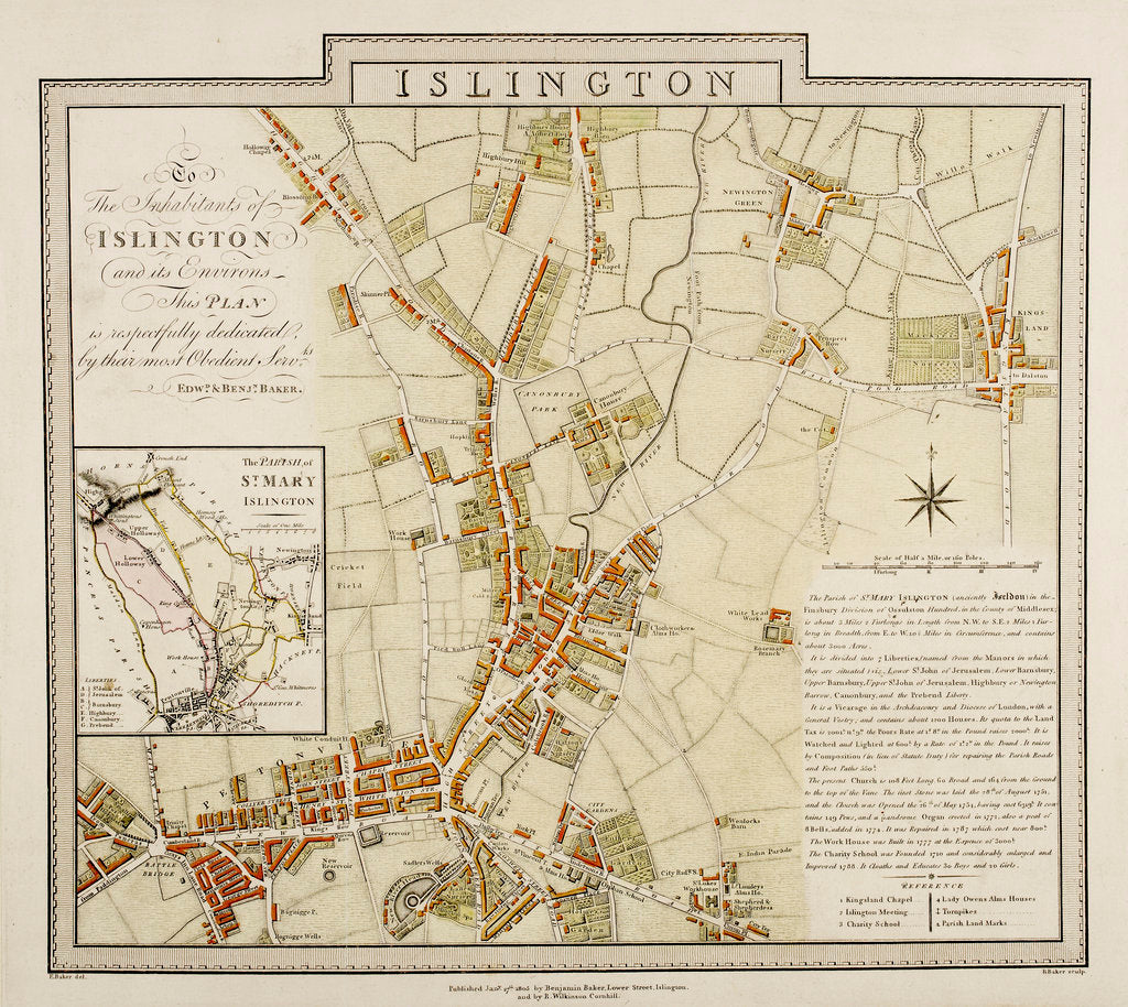 Detail of Map of Islington, London by Edward & Benjamin Baker