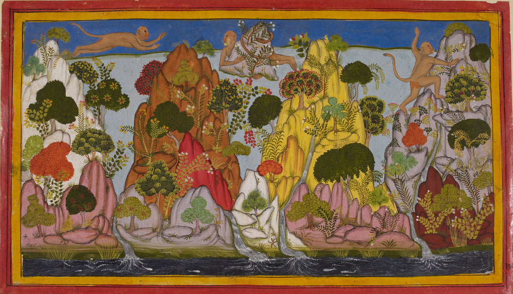 Detail of Hanuman looks for magical herbs by Anonymous