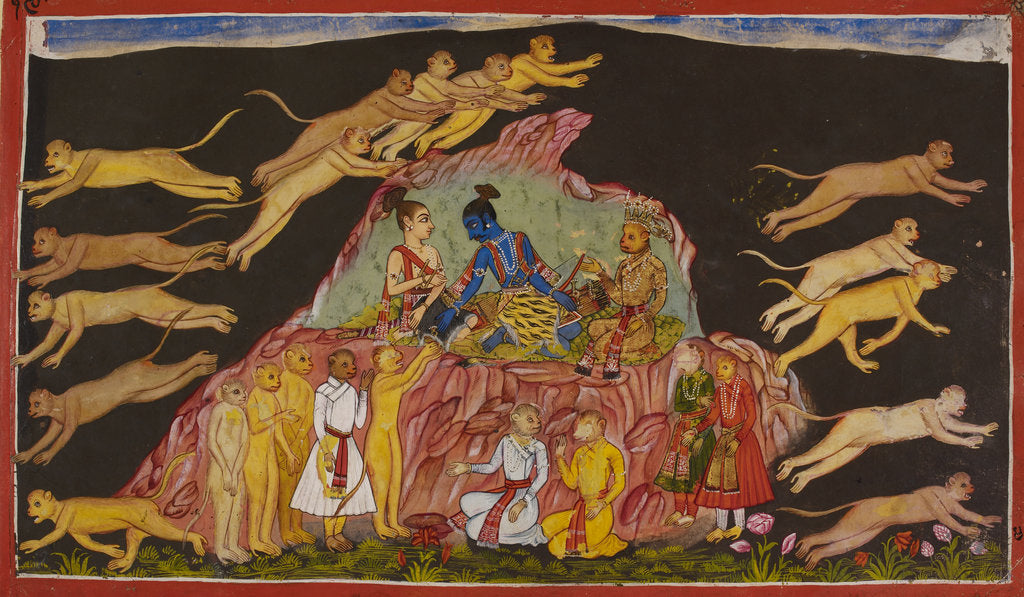 Detail of Sugriva sends out the monkeys to rescue Sita by Anonymous