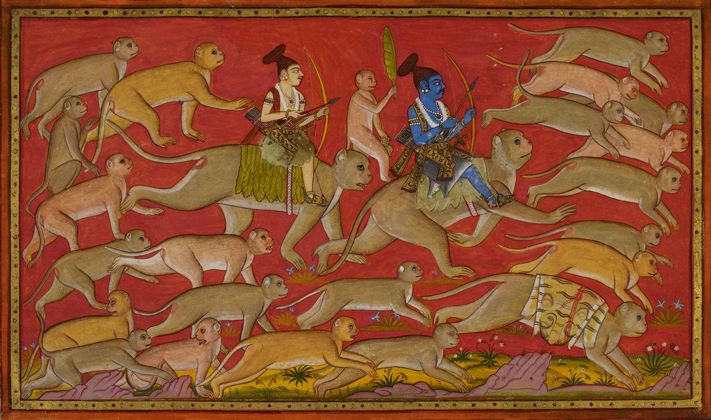 Detail of Rama and the monkey army set out to rescue Sita by Anonymous