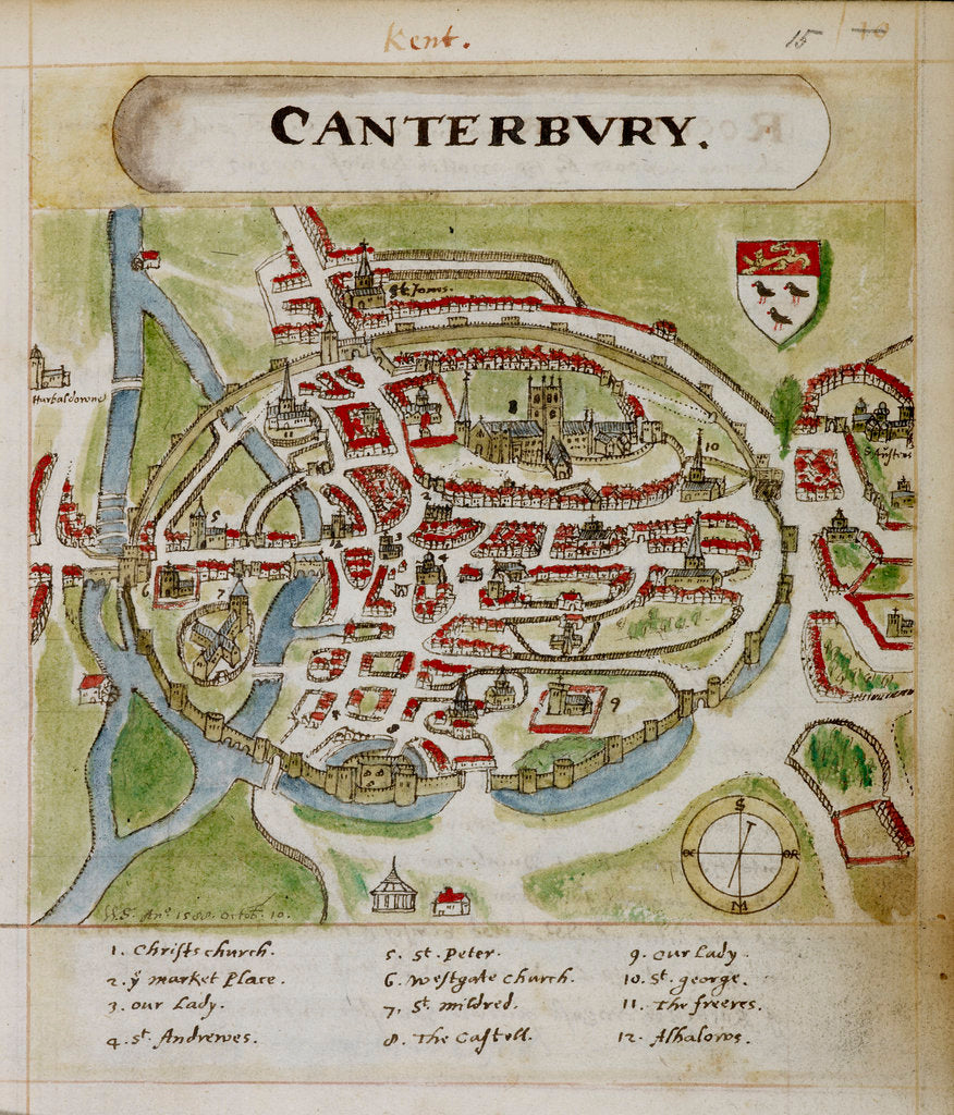 Detail of A historic map of Canterbury by Anonymous