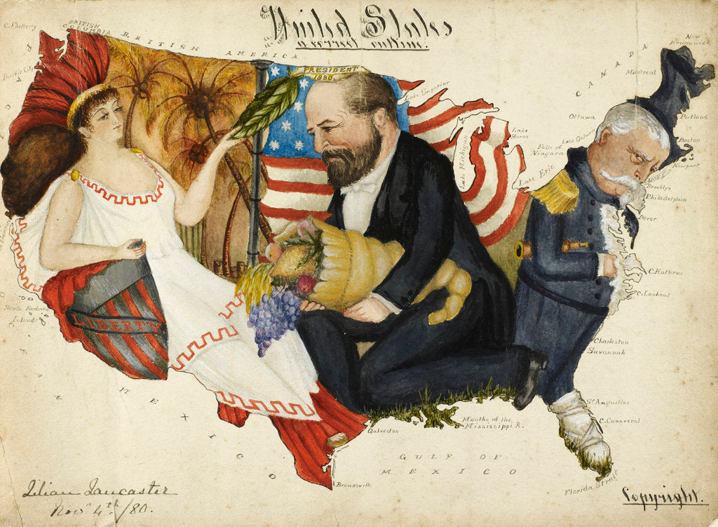 Detail of Cartoon map of the 1880 US Presidential Election by Lillian Lancaster