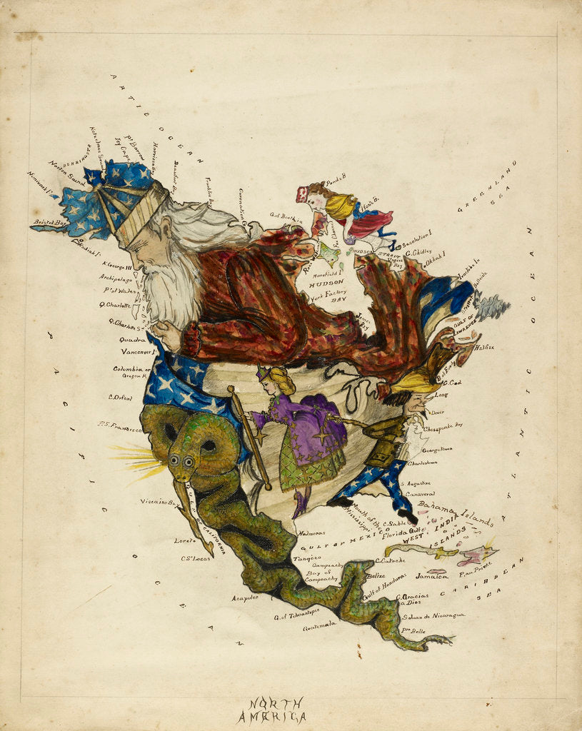 Detail of Cartoon map of South America by Lillian Lancaster