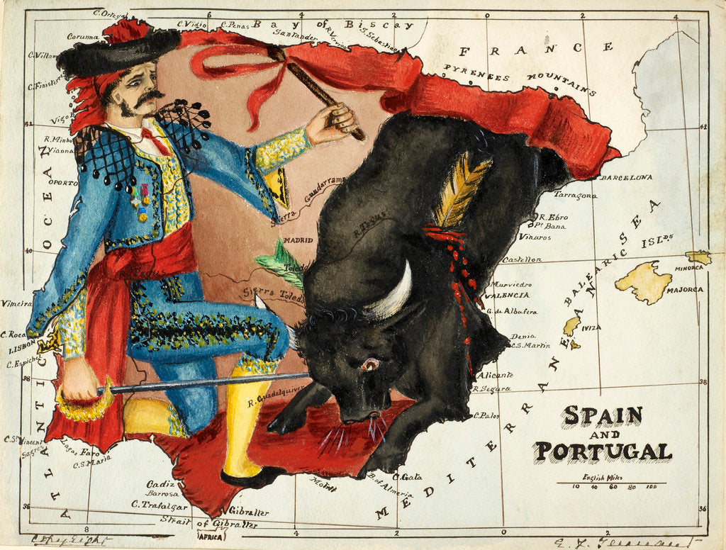 Detail of Cartoon map of Spain and Portugal by Lillian Lancaster