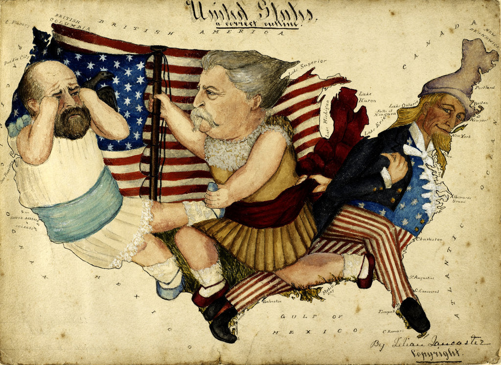 Detail of Cartoon map depicting the US Presidential Election of 1880 by Lilian Lancaster