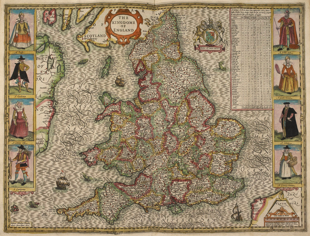 Detail of Map of the Kingdom of England by Christopher Saxton