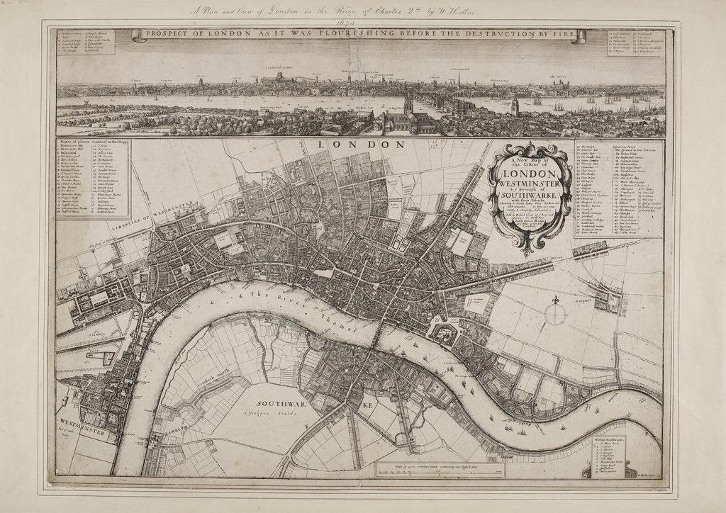 Detail of Wenceslaus Hollar's Map of London by Wenceslaus Hollar