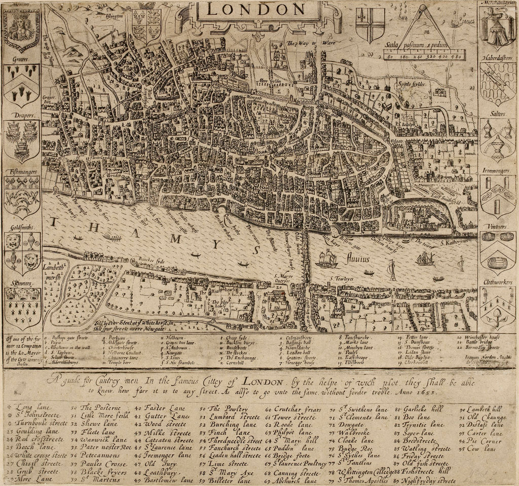 Detail of Map of the City of London, 1593 by John Norden