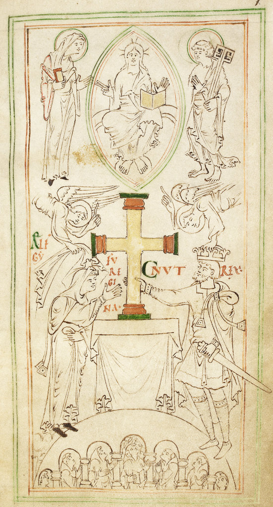Detail of King Cnut and Queen Emma-Ælfgifu presenting a cross to the altar of New Minster by Anonymous