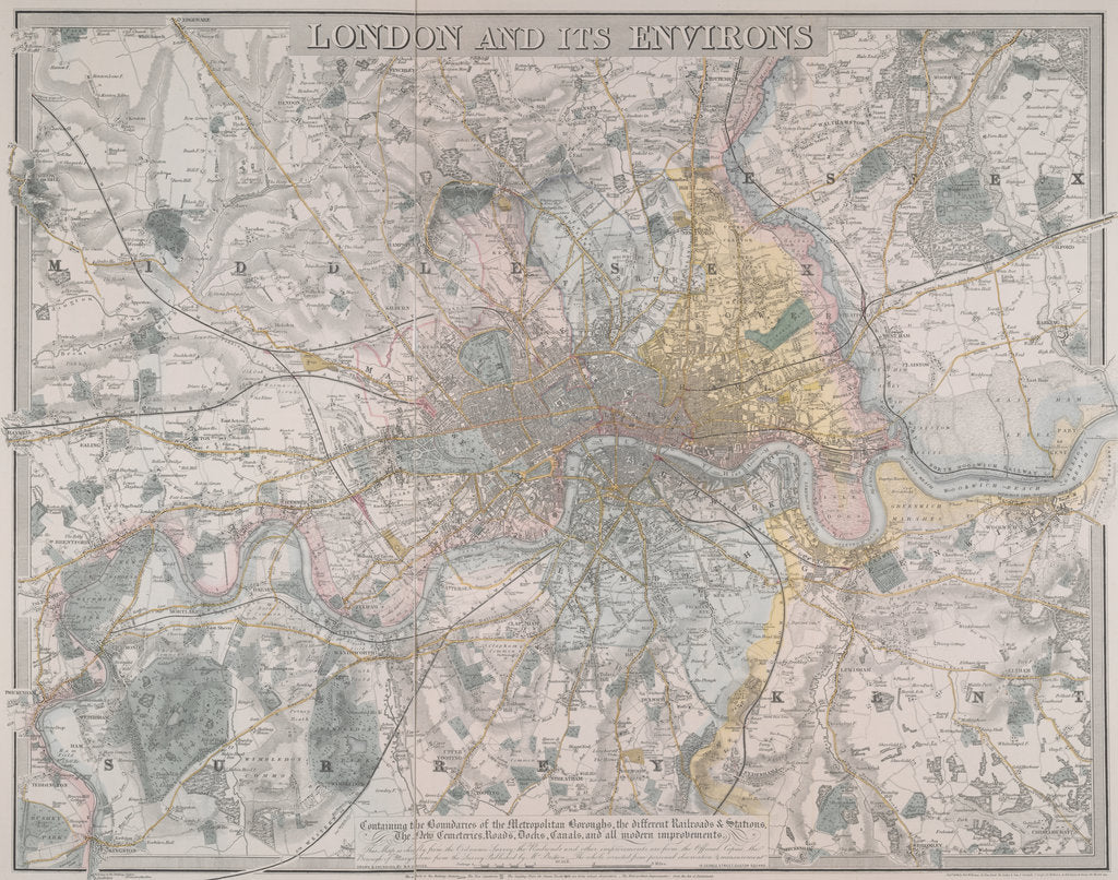 Detail of Map of London by Davis
