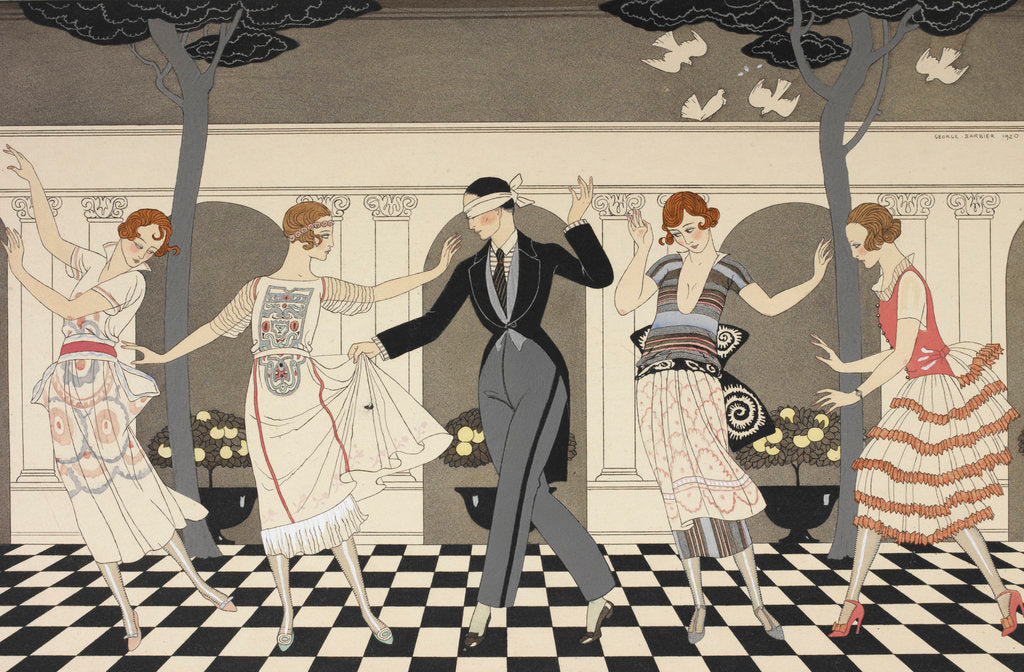 Detail of L'armour est aveugle print by George Barbier