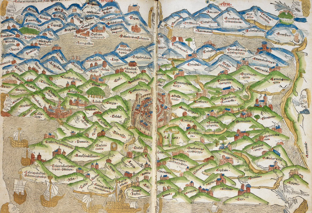 Detail of Medieval map of the Holy land - Jerusalem by Matthew Paris