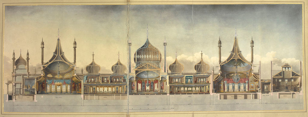 Detail of A cross section of the Royal Pavilion at Brighton by John Nash
