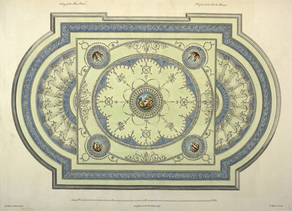 Detail of Music room ceiling by Robert Adam