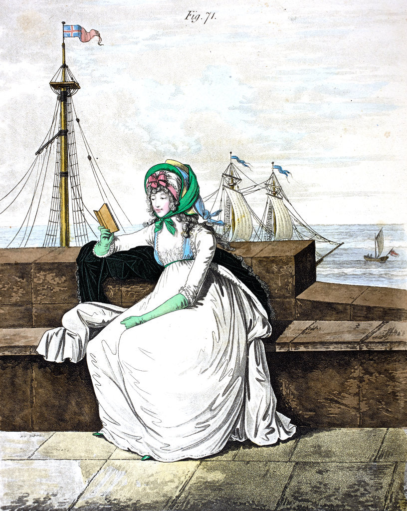 Detail of Georgian fashion: a lady reading by the sea by Anonymous