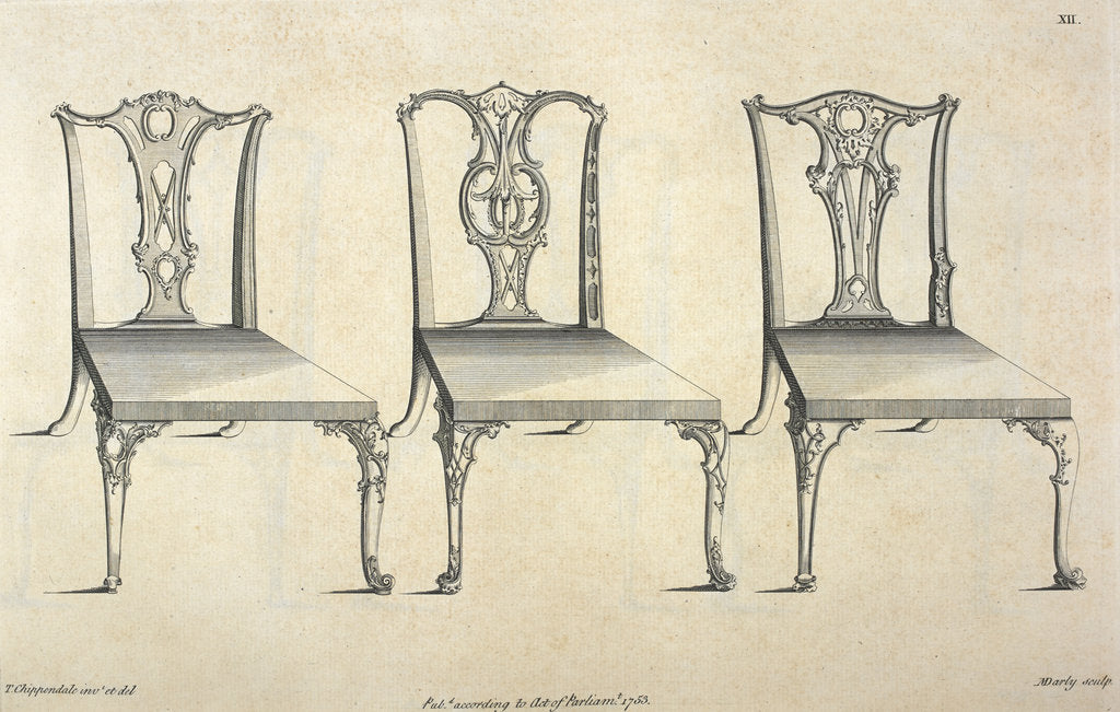 Detail of Chippendale chair designs by Thomas Chippendale