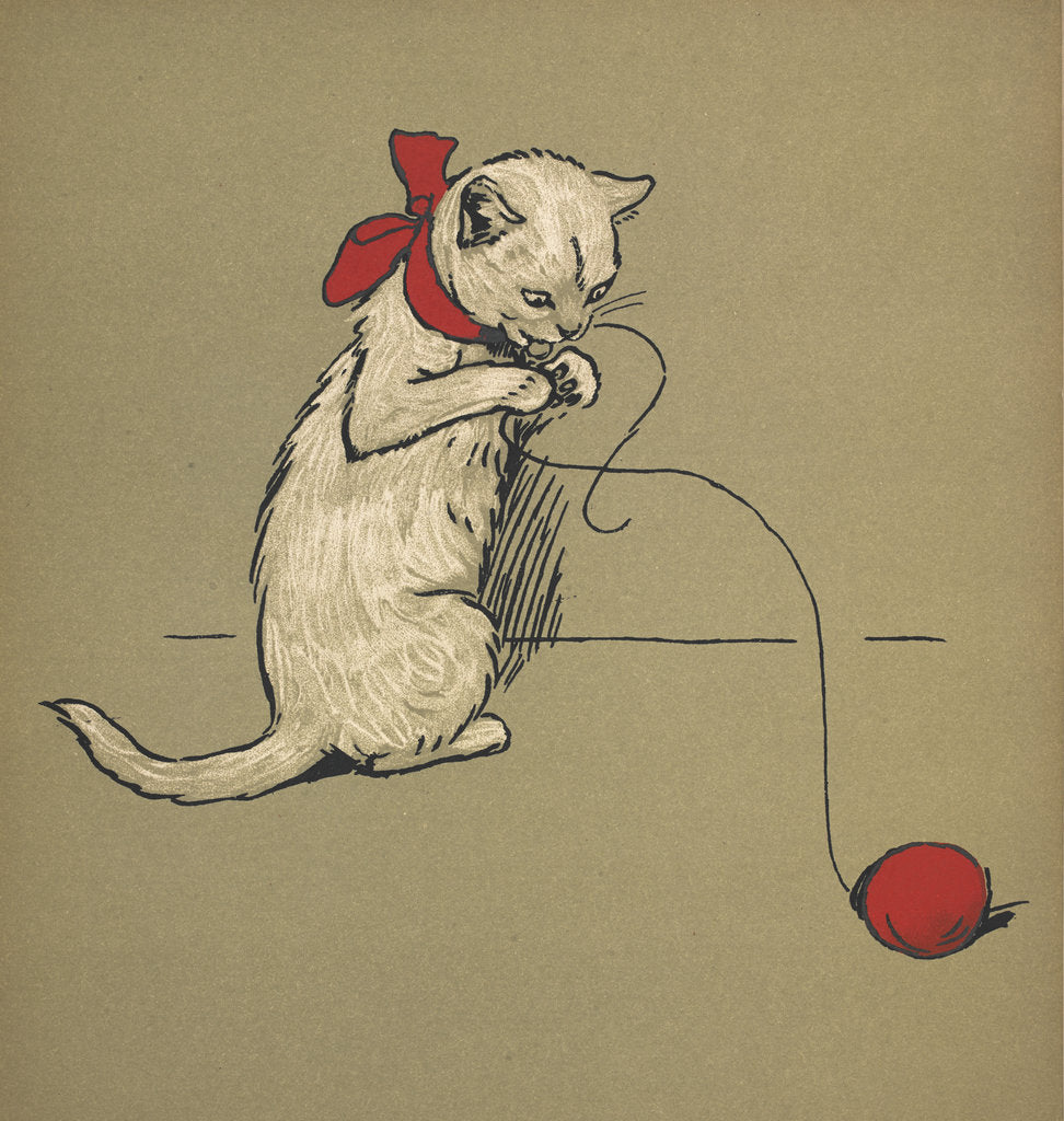 Detail of Kitten playing with string by Cecil Aldin