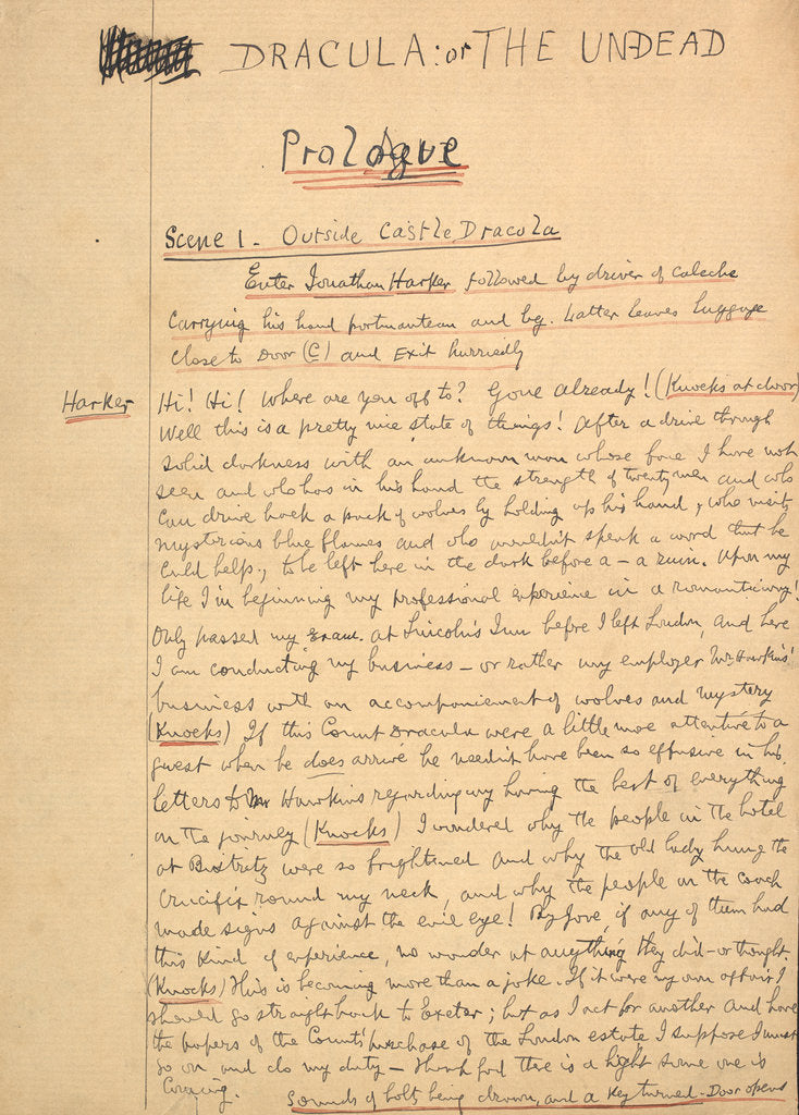 Detail of Dracula manuscript by Bram Stoker