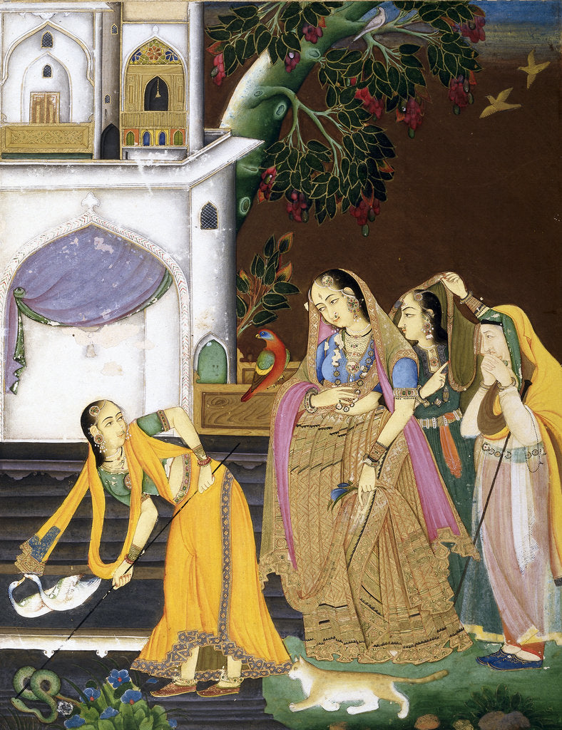 Detail of A princess watching a maid killing a snake by Mir Kalan Khan