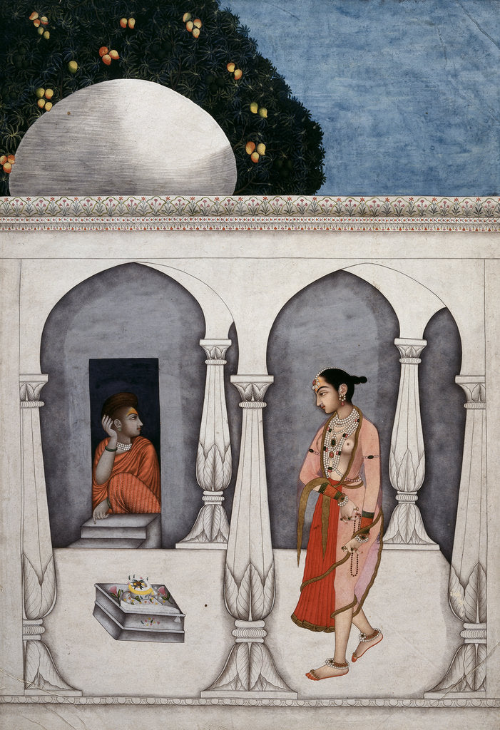 Detail of A lady visiting a shrine by Muhammad Faqirallah Khan