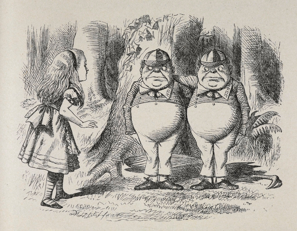 Detail of Alice meeting Tweedle Dee and Tweedle Dum for the first time by Sir John Tenniel