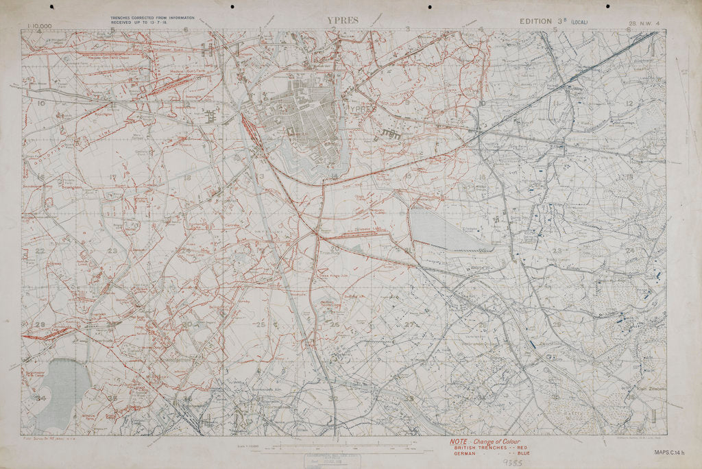 Detail of Map of the First World War: Ypres by Anonymous
