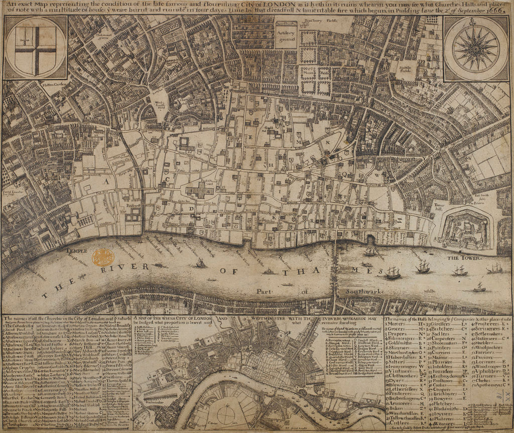Detail of A map of damage resulting from the Great Fire of London by Anonymous