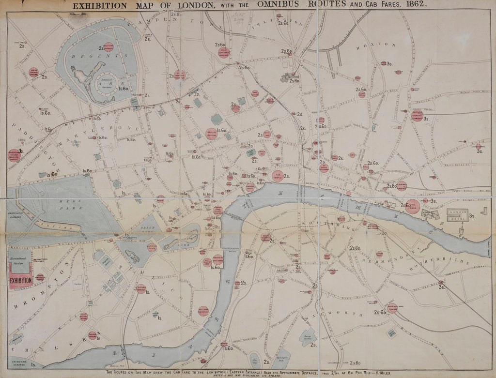 Detail of 1862 map of London with bus and cab routes by Anonymous