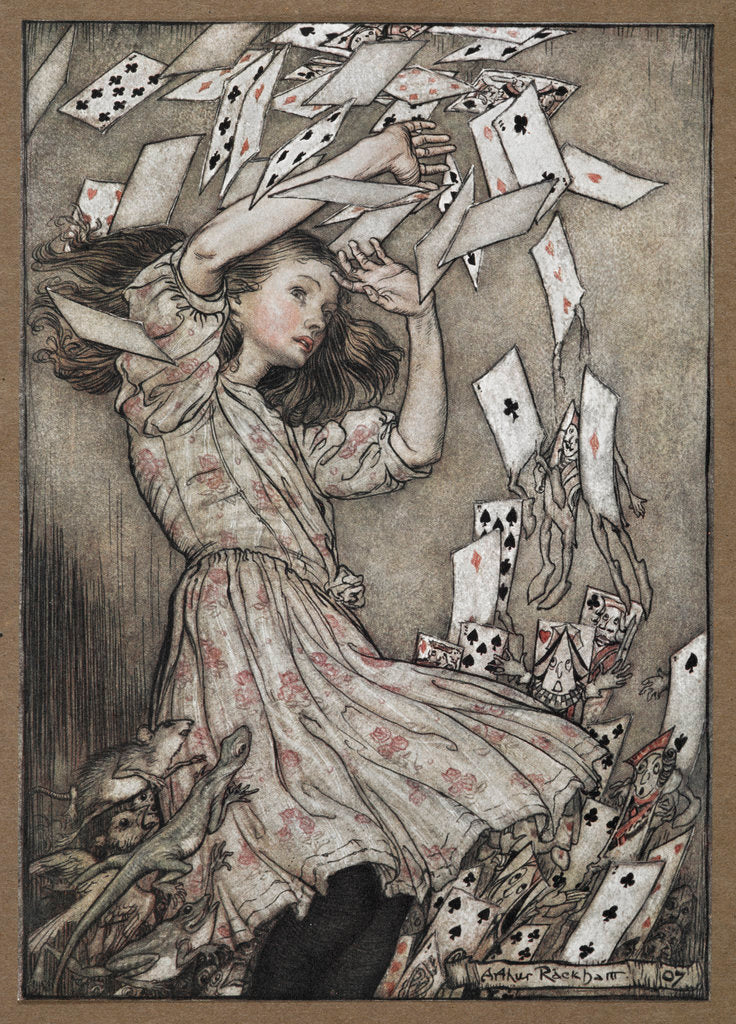Detail of Alice and the falling pack of cards by Arthur Rackham