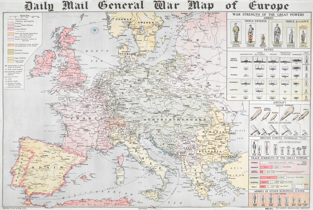 Detail of Daily Mail General War Map of Europe by Anonymous