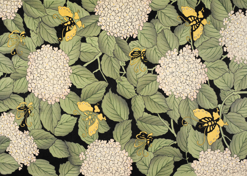 Detail of Flowers, leaves and yellow butterflies Japanese blockprint by Anonymous