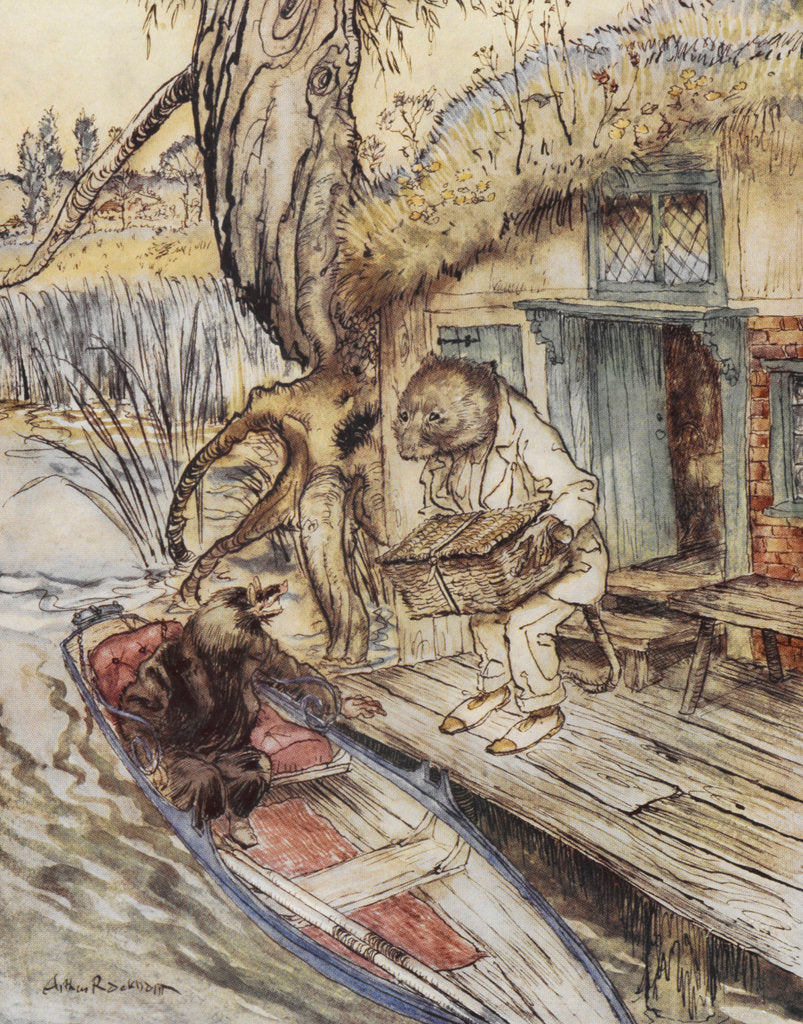 Detail of Rat and Mole by the river by Arthur Rackham