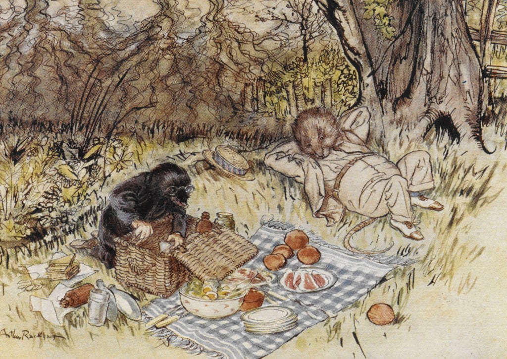 Detail of Rat and Mole having a picnic by Arthur Rackham