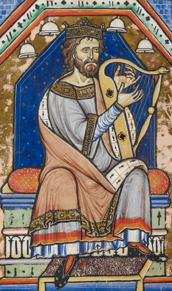 Detail of King David playing the harp by Anonymous