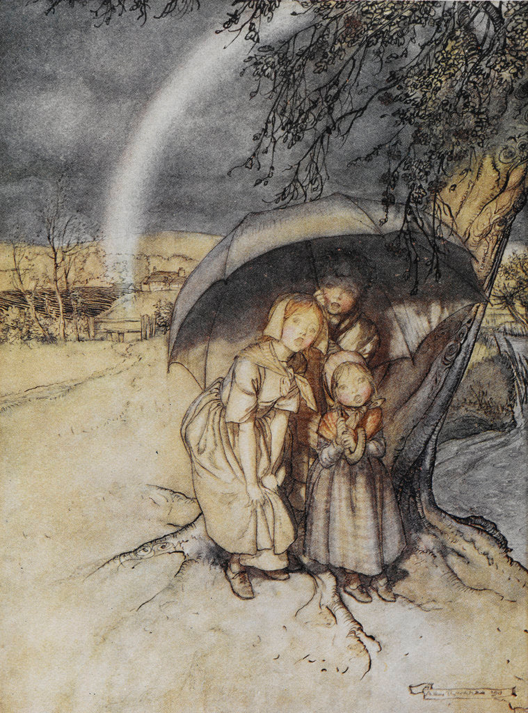 Detail of Rain, rain go to Spain print by Arthur Rackham